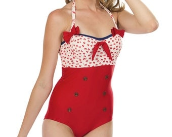 Sammie Halter Swimsuit in Red Bows