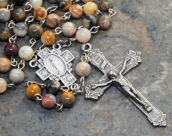 Gemstone Rosary in Crazy Lace Agate; 5 Decade Rosary; Catholic Rosary; Miraculous Medal