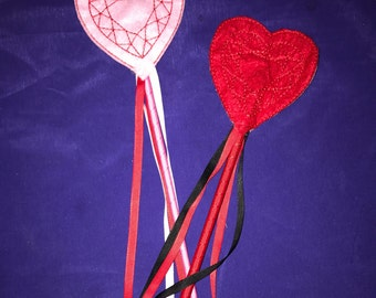 Embroidered Felt Heart Wand  - Great for Party Favors, Dress Up and Costumes - Choose your colors!