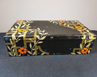 Vintage Asian Tin Metal Box 1930's Art Deco