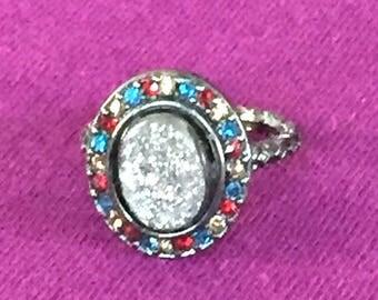 Dara Ettinger BETH Druzy Ring in Gunmetal/ Silver/Red Multi sz 6