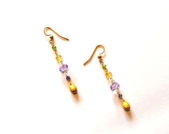 14k Gold filled Amethyst Tanzanite and Citrine Gemstones Earrings / Feminine Gemstone Earrings / Wedding Jewelry / Pretty Gemstone Jewelry
