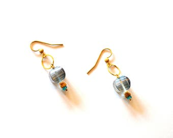 Gold Blue Gemstone Hoop Earrings / Golden Hoop Earrings / Blue Gold Geometric Earrings / 14k Gold Earrings Mystic Blue Quartz Gemstones