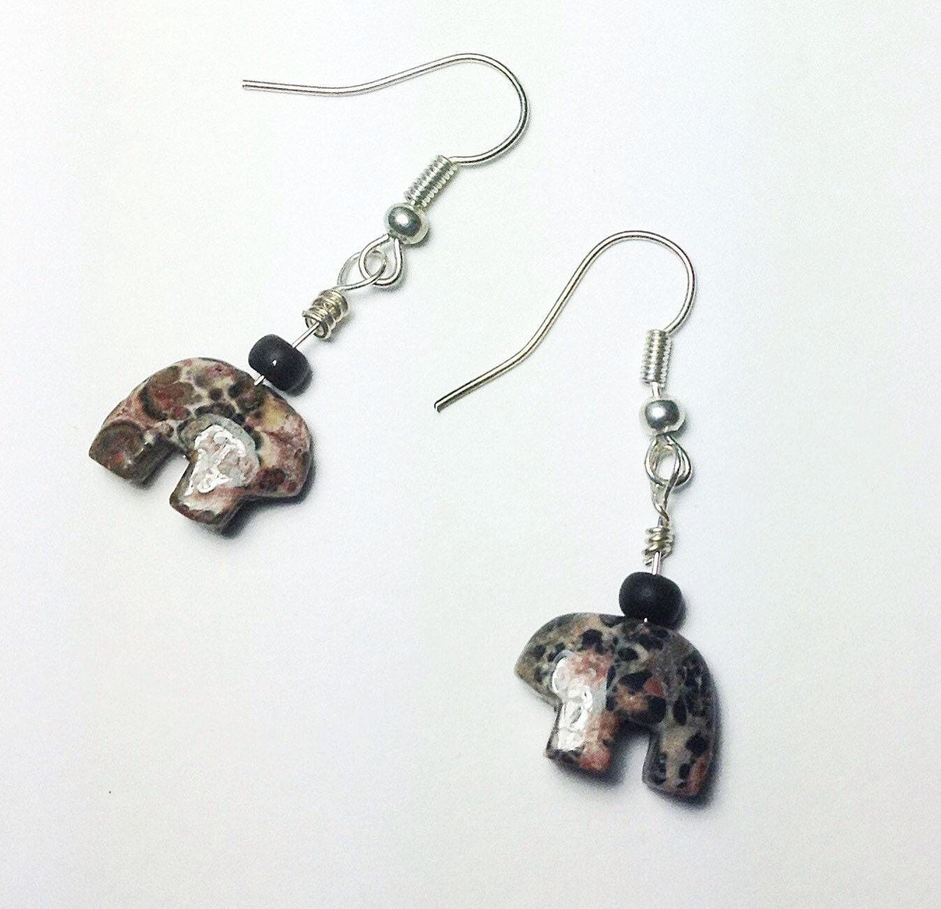 Zuni Earrings: Jasper Earrings. Zuni Bear Earrings. Zen Earrings. Chakra