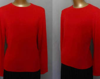 Vintage 80s Red Cashmere Sweater, 1980s Jewel Neck Pullover Jumper by Queen of Scots, Size Medium to Large