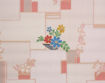 1930's Vintage Wallpaper -Retro and Kitsch Kitchen Pink Tiles with Blue Red and Yellow Flowers