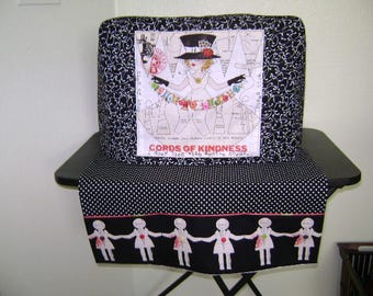 Sewing Machine Cover Set In Lady With Trands Of Buttons Black And White Standard Size
