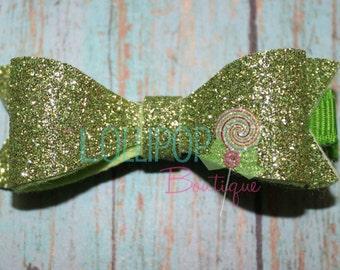 Lime Green Felt Glitter Bow ~ Lime Green Glitter Bow ~ Felt Hair Bow ~ Hair Bow