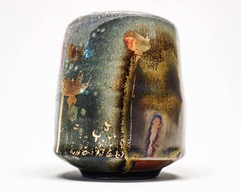 wood fired cup with poppies