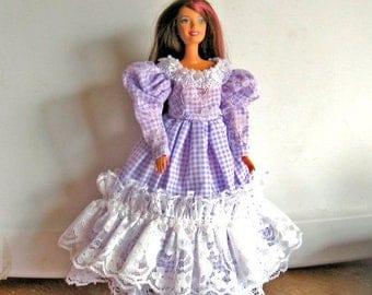 ON SALE Barbie Dress Purple Gingham Check