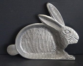 Aluminum Rabbit Bunny Dish/Bowl/Candy Container