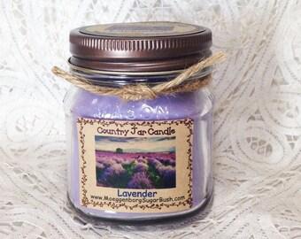 Jar candle, mason jar candle, Lavender jar candle, lavender candle, 1/2 pint mason jar, lavender scented candle, Moeggenborg Sugar Bush