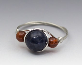 Sapphire & Hessonite Gomed Garnet Sterling Silver Wire Wrapped Bead Ring - Made to Order, Ships Fast!
