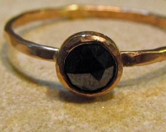 Black Diamond, 14k rose gold hammered stacking ring. Engraveable. Rose-Cut Cabochon.
