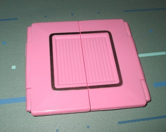 Vintage MOD 80s Pink Bi-Fold Cosmetic Make-up Purse Mirror
