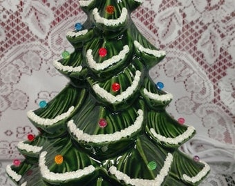 """Ceramic Christmas Tree Lighted 11"""" H - Green with Green Half Barrel Base"""