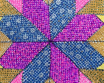 """Acrylic 12""""x12"""" on watercolor paper painted quilting square pink purple white blue dot painting sunflower"""