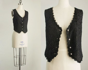 90s Vintage Black Lace Cropped Fitted Button Up Vest Top / Size Small / Medium