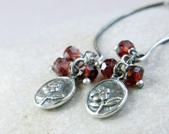 Charm   Earrings        Red Garnet  Jewelry  Oxidized Silver  January   Birthstone Gemstone  Cluster Earrings Sterling Silver