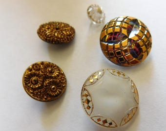 Vintage Czech Glass Buttons Unsual Mixed Lot