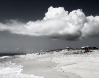 Beach Photography, Seascape Art, Coast Photo, Ocean Print or Canvas, Nautical Wall Decor, Clouds, Beach Cottage Decor - Summer of Dreams