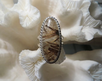Golden Rutile Agate Ring Size 5.75