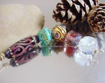 Handmade lampwork glass beads, Artisan glass beads, blue beads, green beads, ivory beads, green beads, purple beads, mandala beads, SRA