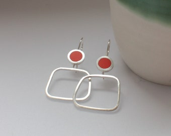 Orange Hoop Earrings  - Resin Earrings - Modern Square Hoops  - Minimalist Hoops - Christmas Gift for Mum - Pop