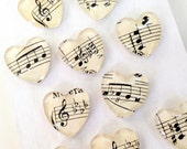 NEW - Vintage Sheet Music Magnets - Set of 2 Heart shaped - Rare Earth magnets - music notes- Music Teacher gift