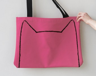 Pink Cat Ears Tote Bag - back to school gift for cat mom - market bag - oversized canvas bag - crazy cat lady - gift for cat lover
