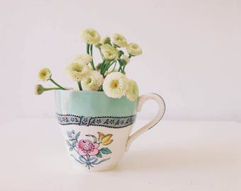 Vintage Tea Cup Photograph - Flower Photography - White Minimalist Art - Cottage Decor - Floral - Still Life Photography - Kitchen Wall Art