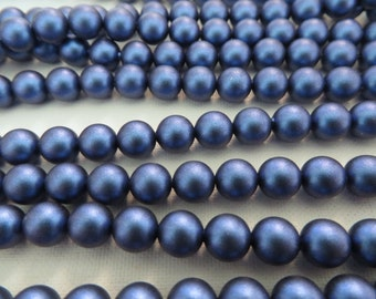 25 Iridescent Dark Blue Swarovski Crystal Beads Pearls 5810 6mm