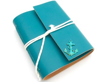 ON SALE! Nautical Travel Aqua Leather Journal Handmade Leather Sketchbook Sailor's Journal Nautical Guest Book Handmade Blue Leather Book