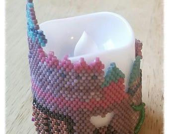 Castle Tea Light Cover, Dragon, Hand Beaded, Flameless