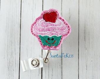 Cupcake Felt Badge Reel handmade by SantaFeKiss