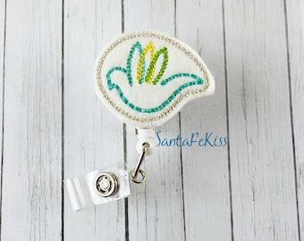Dove Felt Badge Reel handmade by SantaFeKiss