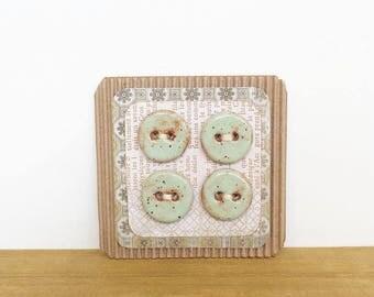 Pistachio Shino Round Handmade Rustic Stoneware Buttons - Set of 4