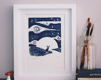 Little hare, big sky. Original silkscreen print.