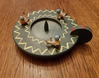Vintage Hand Painted Wooden Candle Holder with 3 Little Birds