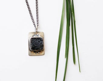 Black Sun Necklace - Druzy and Silver