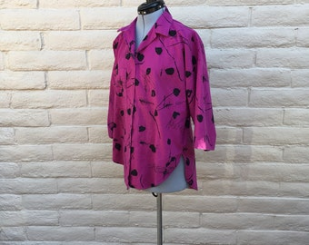 Vintage Oversized Hot Pink Abstract Graphic Batwing 80s Blouse Sz S/M