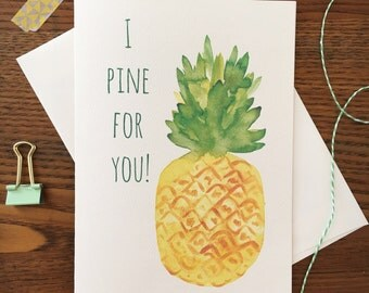 Pineapple Card. Pine for you. Anniversary Card. Pineapple love card. Pineapple Pun Card. Same Sex Card. Blank card. Love Card. Fruit pun