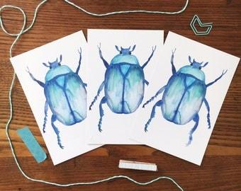 Beetle Postcard. Watercolor Beetle Card. Beetle Art. Scarab Card. Set of 3 Cards. Beetle Painting. Postcard Set. Insect Card. Blue Beetle