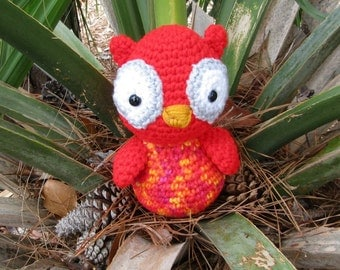 Plush Red Speckled Owl. Red Amigurumi Owl.  Cuddly Stuffed Toy Owl. Plush Owl. Kawaii Plush Owl. Sweetheart Gift.  Gift for Kids. Baby Gift
