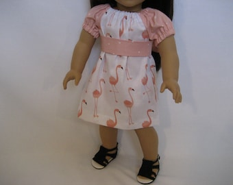 18 Inch Doll Clothes - Flamingo Peasant Dress made to fit dolls such as American Girl doll clothes