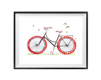 Wall Art Decor - Bicycle watercolor bike watercolour Print Bike illustration - LaBerge