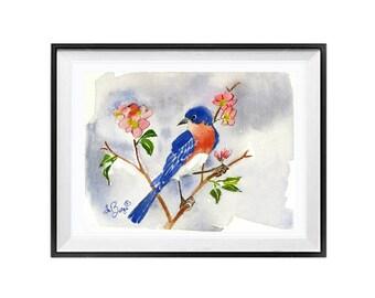 Western Bluebird, Original watercolor painting, Small song bird, Wildlife original painting, Blue painting, Small painting 6 x 7