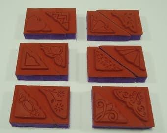 12 Piece Corner Stamp Foam Mounted Rubber Stamp Set Leaves, Heart, Floral, Flowers, Swirls, Filigree, Lace, Ruffled, Star, Geometric