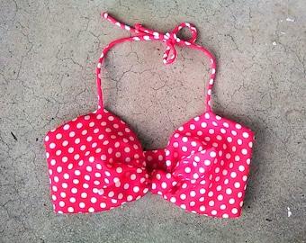 Vintage 60s polka dot bikini top / red polka dot halter top / polyester, front tie, 34-36 bust, 26 waist, xxs xs
