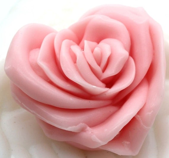 Rose Goat's Milk Soap in a Rose Heart Pattern, Rose Scent, Goats Milk, Heart Soap, Shower Gift, Party Favor, Wedding, Love, Valentine, Mom